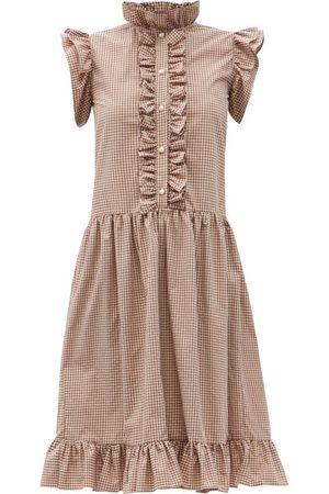 BATSHEVA Femme Robes imprimées - Robe en coton vichy à volants Claude