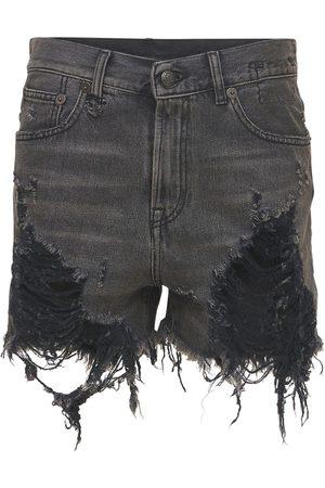 R13 Femme Shorts - Short En Denim De Coton Usé