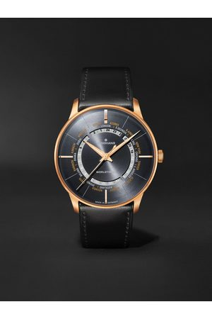 Junghans Meister Worldtimer Automatic 40.4mm PVD-Coated Stainless Steel and Leather Watch, Ref. No. 027/5013.02