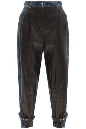 Alexander McQueen Pantalon taille haute en denim et cuir