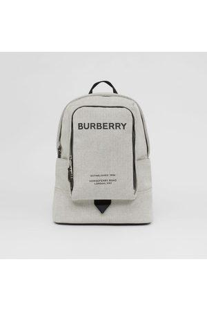 Burberry Homme Sacs à dos - Grand sac à dos en toile de coton avec logo, Black