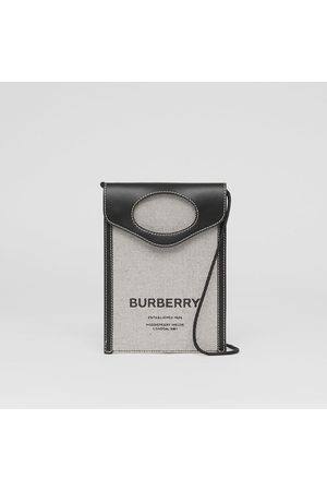Burberry Étui pour téléphone Pocket en toile et cuir bicolore