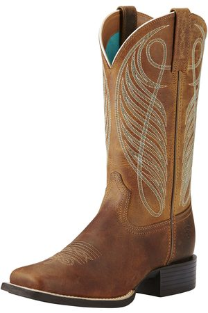 Ariat Femme Cowboy & Bikerboots - Women's Round Up Wide Square Toe Western Boots in Powder Brown Leather
