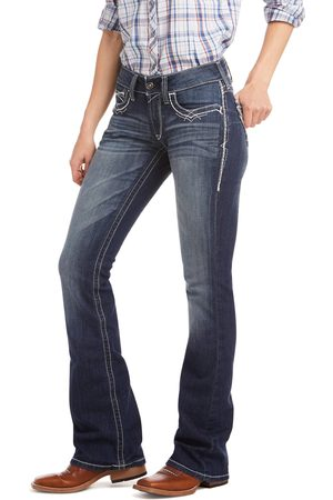 Ariat Femme Bootcut - Women's R.E.A.L. Mid Rise Stretch Entwined Boot Cut Jeans in Marine Cotton