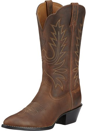 Ariat Women's Heritage R Toe Western Boots in Distressed Brown