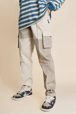 Boohoo Tall Regular Patchwork Twill Cargo Trousers Homme