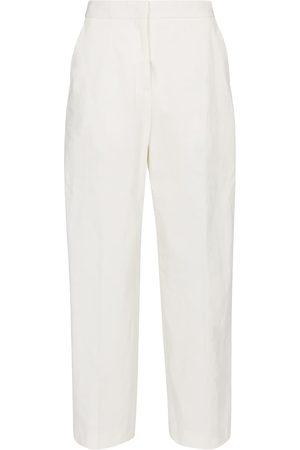 Jil Sander Femme Pantalons coupe droite - Pantalon droit à taille haute en coton mélangé