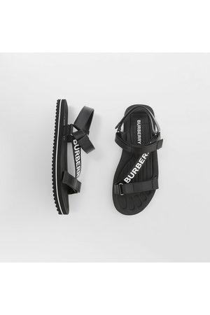 Burberry Homme Sandales - Sandales en cuir avec logo, Size: 39, Black