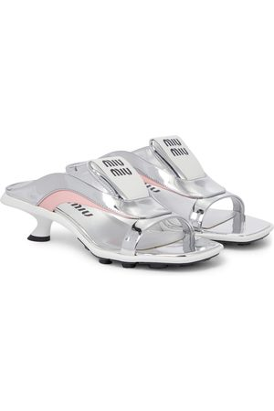 Miu Miu Femme Sandales - Sandales en cuir métallisé