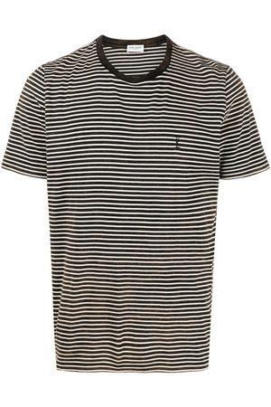 Saint Laurent T-shirt rayé à logo brodé