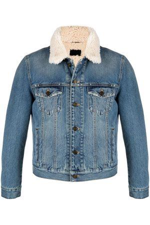 Saint Laurent Veste en jean à doublure en peau lainée