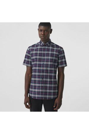 Burberry Homme Manches courtes - Chemise à manches courtes en coton stretch micro-check, Size: L, Blue