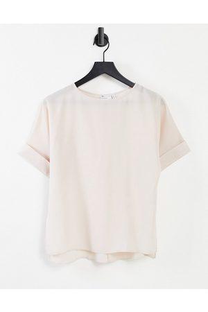ASOS T-shirt oversize tissé avec manches à revers - Huître-Pas de couleur