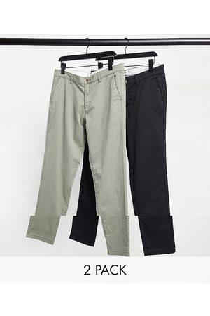 Jack & Jones Intelligence - Lot de 2 pantalons chino ajustés slim - Olive chiné & noir