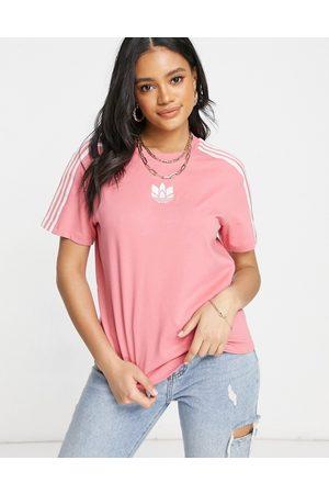 adidas Adicolor - T-shirt à trois bandes avec logo 3D - poudré