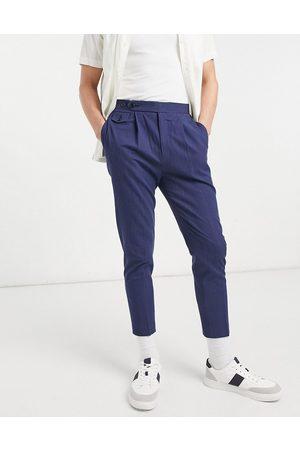 ASOS Pantalon habillé fuselé en lin et coton froissé - marine