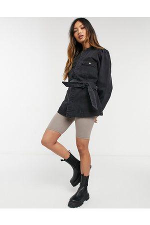 Vero Moda Veste en jean avec ceinture et manches tombantes