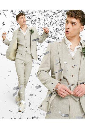 ASOS Wedding - Veste de costume super ajusté en laine mélangée à petit motif pied-de-poule - Taupe-Neutre