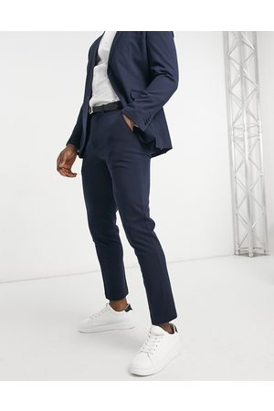 Selected Pantalon de costume coupe slim en jersey - marine
