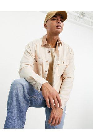 ASOS Chemise oversize en jean style années 90 avec col en velours côtelé - Écru