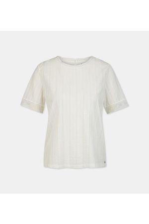 Yerse Blouse droite rayures broderies coton