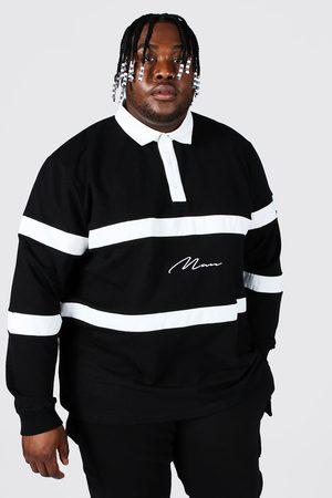 Boohooman Plus Size Man Script Colour Block Rugby Polo Homme
