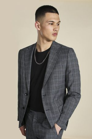 Boohoo Slim Grey Check Single Breasted Suit Jacket Homme