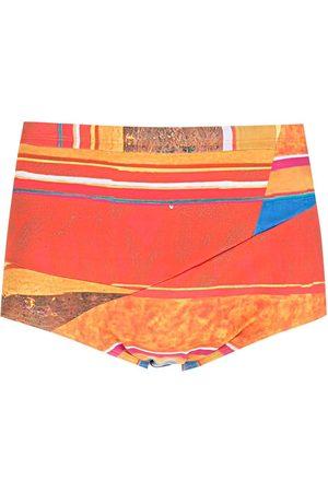 AMIR SLAMA Homme Shorts - Short de bain Hibiscus rayé à design à empiècements