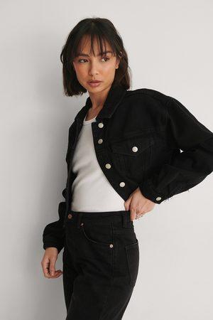 NA-KD Femme Vestes en jean - Biologique Jean Fendu À Ourlet Brut - Black