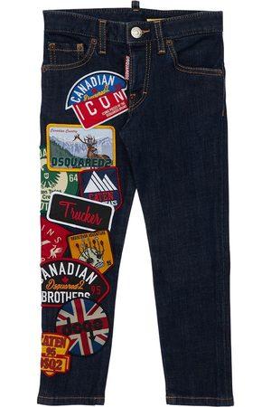Dsquared2 Fille Vestes en jean - Veste En De Coton Stretch Avec Patchs