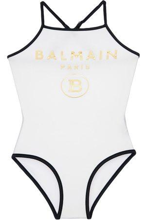 Balmain Maillot De Bain Une Pièce Avec Logo Imprimé