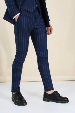 Boohoo Skinny Navy Pinstripe Suit Trousers Homme