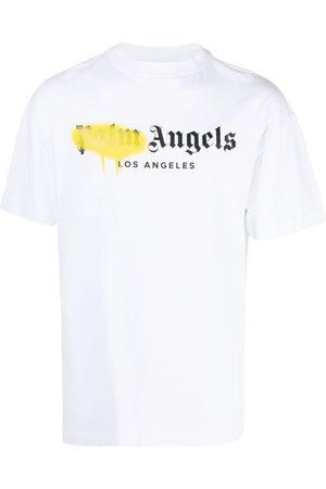 Palm Angels LA SPRAYED LOGO TEE WHITE YELLOW