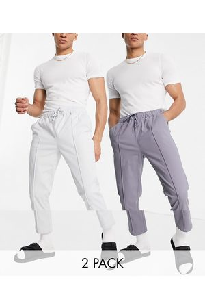 ASOS Lot de 2 pantalons chino slim à ceinture élastique et surpiqûres - Taupe/gris
