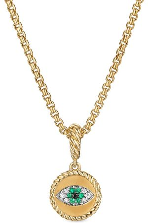 David Yurman 18kt yellow gold diamond 1mm evil eye charm enhancer pendant