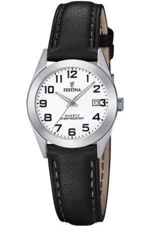 Festina Montre F20447-1 - CLASSIQUE Dateur Boîtier Acier Argenté Bracelet Cuir Cadran Blanc Femme