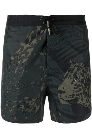 Saint Laurent Leopard Nocturne printed swim shorts
