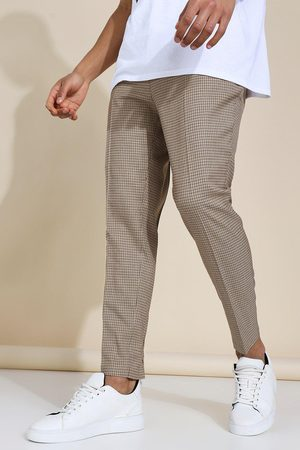 Boohooman Homme Pantalons classiques - Tapered Dogtooth Brown Trousers Homme