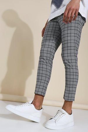 Boohoo Super Skinny Black Check Crop Trouser Homme