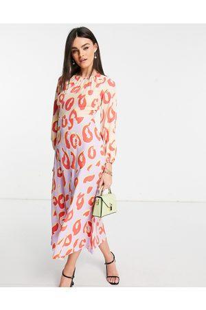 Closet Robe longueur mollet à manches longues et à pois - Pastel contrastant