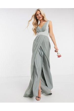 ASOS Robe longue plissée avec dos boutonné - Olive