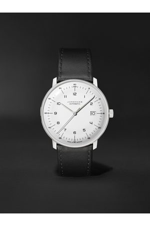 Junghans Homme Montres - Max Bill Automatic 38mm Stainless Steel and Leather Watch, Ref. No. 027/4700.02