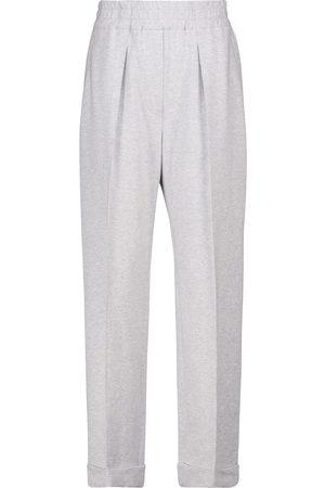 Brunello Cucinelli Pantalon droit à taille haute en coton