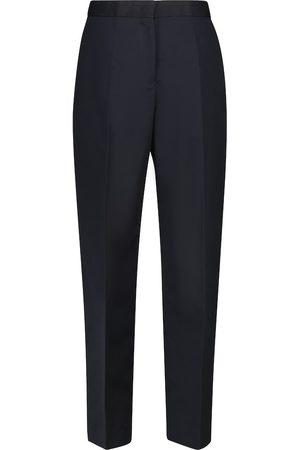 Jil Sander Pantalon à taille haute en coton et soie