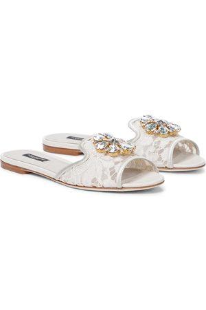 Dolce & Gabbana Mules Bianca en dentelle à ornements