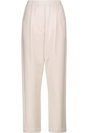 Brunello Cucinelli Pantalon droit à taille haute en coton mélangé