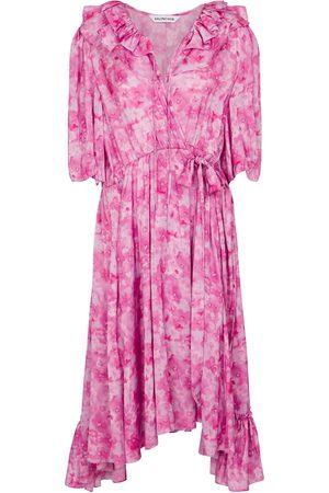 Balenciaga Robe midi en satin à fleurs