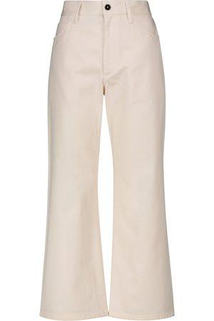 Jil Sander Pantalon raccourci à taille haute en coton