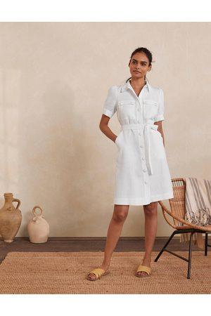 Boden Femme Robes business - Robe-chemise Carrie en lin WHT Femme Boden