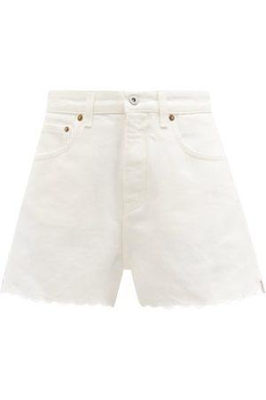 Miu Miu Femme Shorts en jean - Short taille haute en denim festonné
